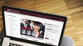 Image of laptop computer with EKU web story on screen