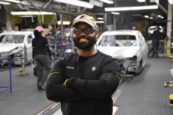 Sean Dunham on the assembly line at BMW Manufacturing Company