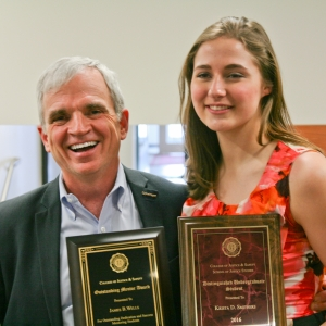 Student Krista Smithers and Lecturer James Wells display their respective awards